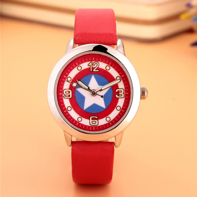2018 new Marvel Captain America Super Hero Leather Band Metal Watch For Child Bo