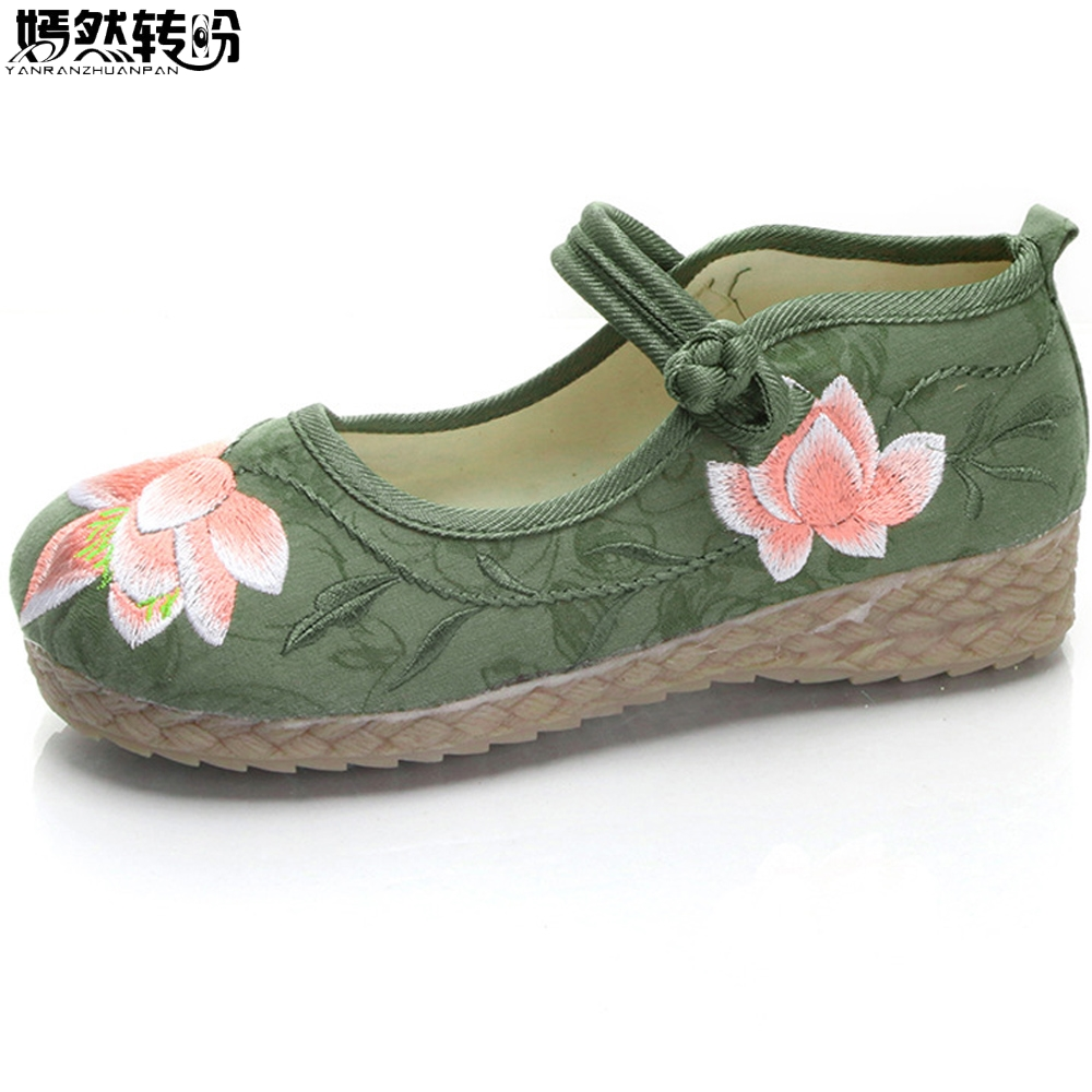 New Chinese Women Flats Shoes Vintage Boho Cotton Linen Canvas Floral Embroidered Cloth Shoes Woman Soft Woven Round Toe Ballets chinese women flats shoes vintage boho