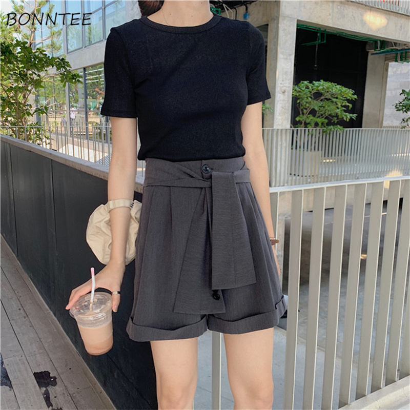 Shorts Women Summer Clothing Female 2019 Solid Elegant Chic Womens Buttons Lacing Wide Leg Short Pockets All-match Trendy Korean