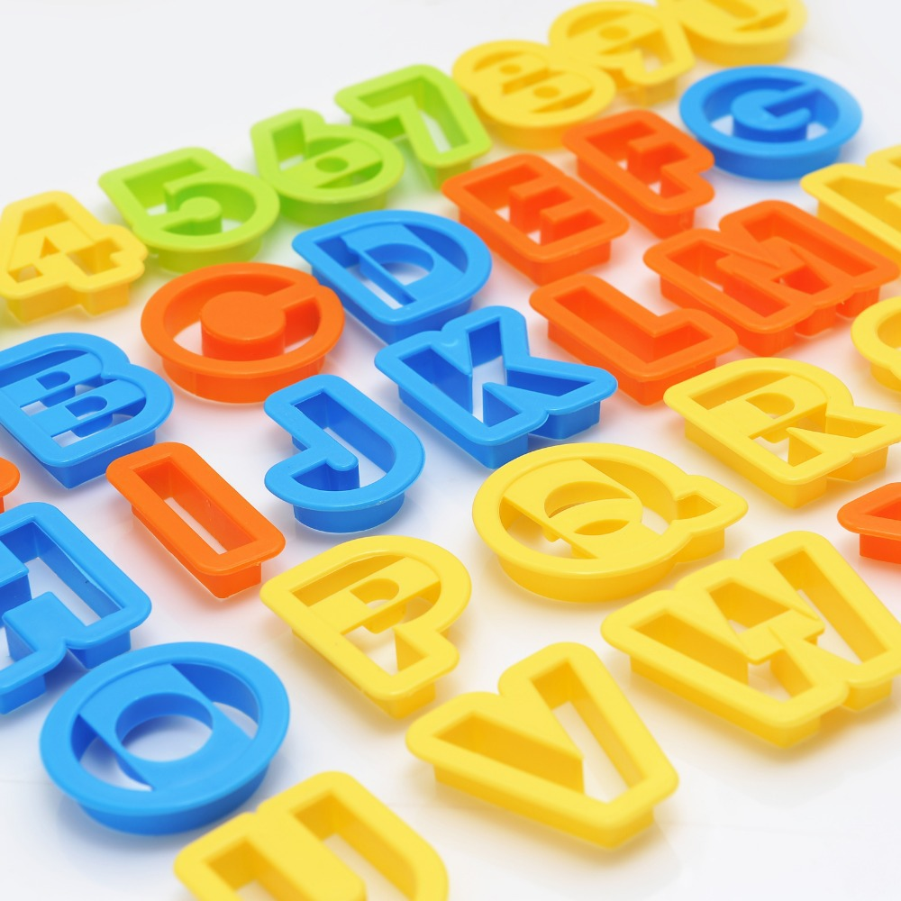 new set 36 pc new alphabet number letter font plastic cookie cutter fondant tool baking cake