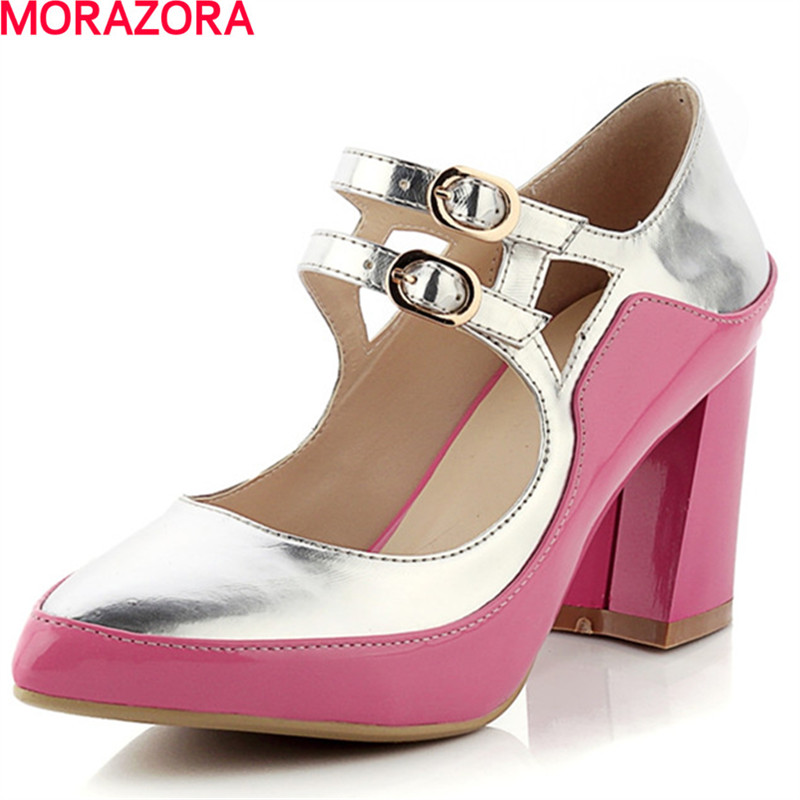 MORAZORA new arrival Large size 34-42 high heels shoes woman  party shoes summer single shoes hot sale fashion women pumps morazora bind pu solid high heels shoes 5cm in summer fashion elegant party shoes sandals party large size 34 42