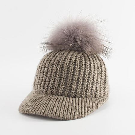Autumn Winter Baseball Caps For Women Real Raccoon Fur Pom Poms Knitted Hat Casual Solid Color Bone Feminino