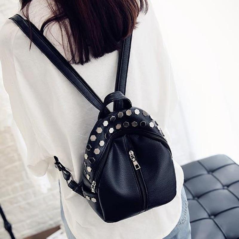 2018 Women Backpack for Girls Backpacks Casual Black Backpack PU Leather Rivet Mini Girls Bags Small Cute Female Back Packs