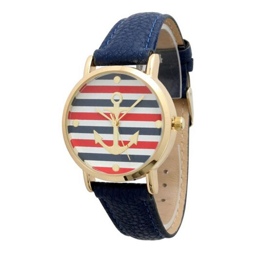 2017 New Fashion Womens Multi Color Striped Anchor Leather Watch White Blue Fit For Stud ...