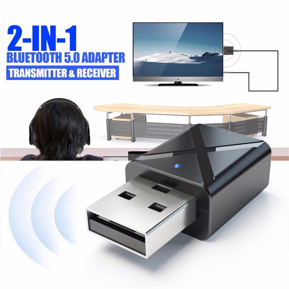 2 In 1 Wireless USB Bluetooth 5.0 Adapter Dongle Music Sound Receiver Adapter Bluetooth Transmitter For PC Laptop Compute
