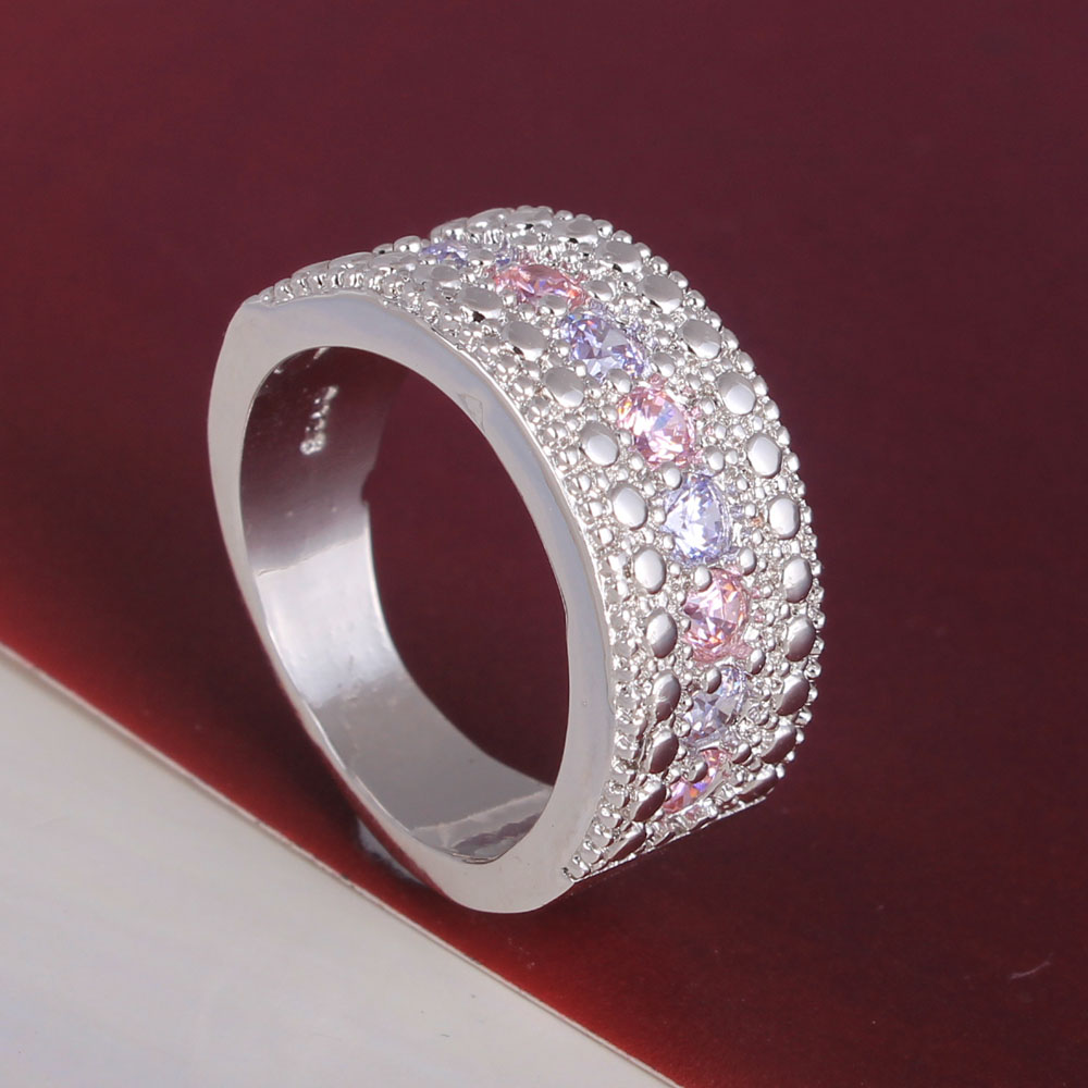 new pink zircon Silver Color finger ring for women hot design gift support free large round vintage lady jewellery