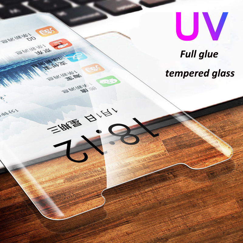 UV Full Glue Tempered Glass for huawei P30 lite P20 pro Screen Protector for huawei mate 20 pro Nano Liquid full adhesive glass in Phone Screen Protectors from Cellphones Telecommunications