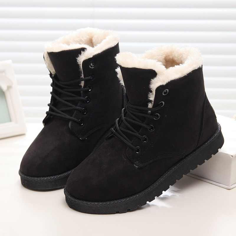 21dc041f7c83 ... LAKESHI Hot Women Boots Winter Warm Snow Boots Women Botas Mujer Lace  Up Fur Ankle Boots ...