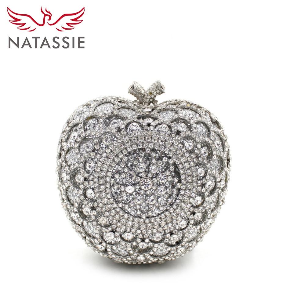 Natassie silver apple forma de lujo famoso bolso de diseño de la boda de cristal