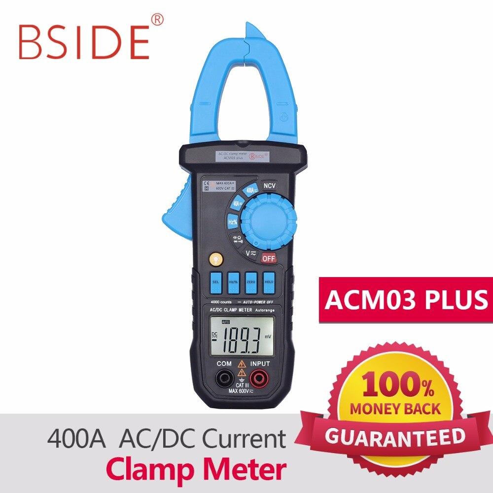 BSIDE Цифровой мультиметр 400a AC/DC текущий клещи acm03 плюс Емкость Частота тестер индукции Напряжение сигнализации