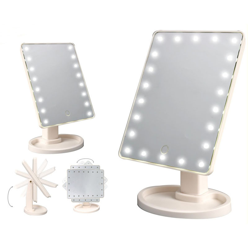 LED Touch Screen Makeup Mirror 22 LEDs Lighted Cosmetic Mirror Adjustable  Vanity Tabletop Countertop Mirror(