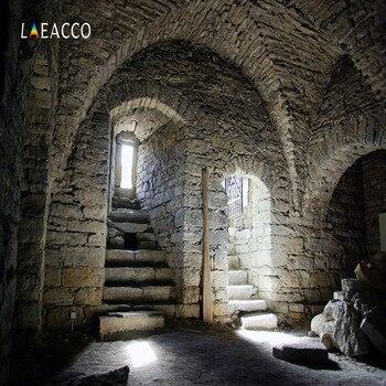 цена на Laeacco Photographic Backdrops Old Door Stone Interior Stairs Photophone Scene Photography Background Customize For Photo Studio