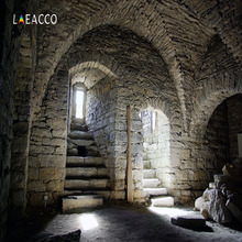 Laeacco Photographic Backdrops Old Stone Interior Stairs Door Dungeon Scene Photography Backgrounds Customized For Photo Studio