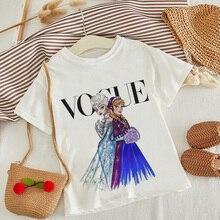 Новое поступление, модная детская футболка с принтом принцессы забавная мультипликационная кавай-девочка, Топ Harajuku, белая футболка с круглым вырезом и короткими рукавами для мальчиков