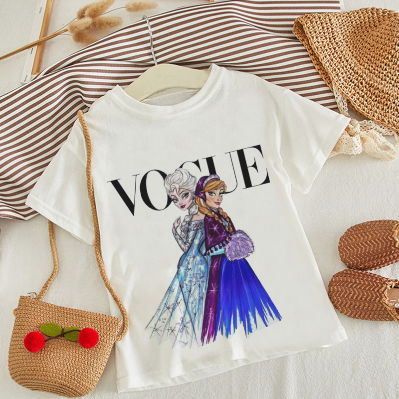VOGUE New Arrival Princess Print Kids T Shirt Funny Kawaii Cartoon Girl Top Harajuku White Round Neck Short Sleeves Boys Tshirt