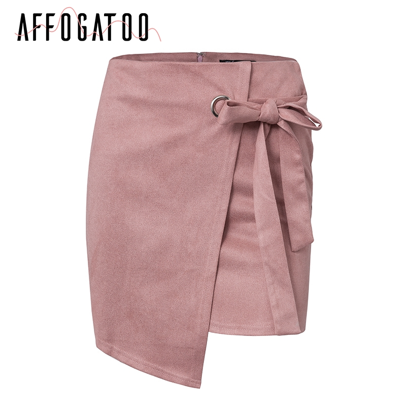 Affogatoo Asymmetrical sash knotted suede skirt women High waist sexy split winter skirt 18 Autumn casual leather skirt female 4