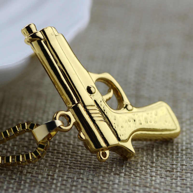 Hip Hop pistolet naszyjnik z amuletem złoty pistolet maszynowy wisiorek naszyjniki dla kobiet i mężczyzn biżuteria fajne akcesoria kołnierz