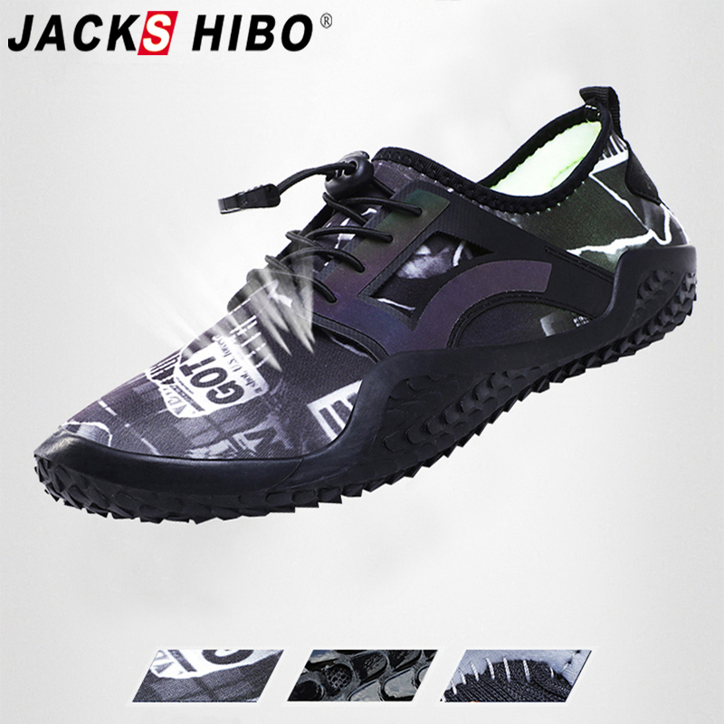JACKSHIBO Water Shoes For Men Summer Sneakers Beach Shoes Barefoot Swimming Aqua Shoes Big Size Outdoor Sea Sport Surfing Diving