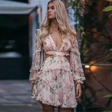 Превосходное качество, новинка, летнее дизайнерское подиумное платье для женщин, с длинным рукавом, цветочный принт, сексуальное, v-образный вырез, открытое, Повседневное платье
