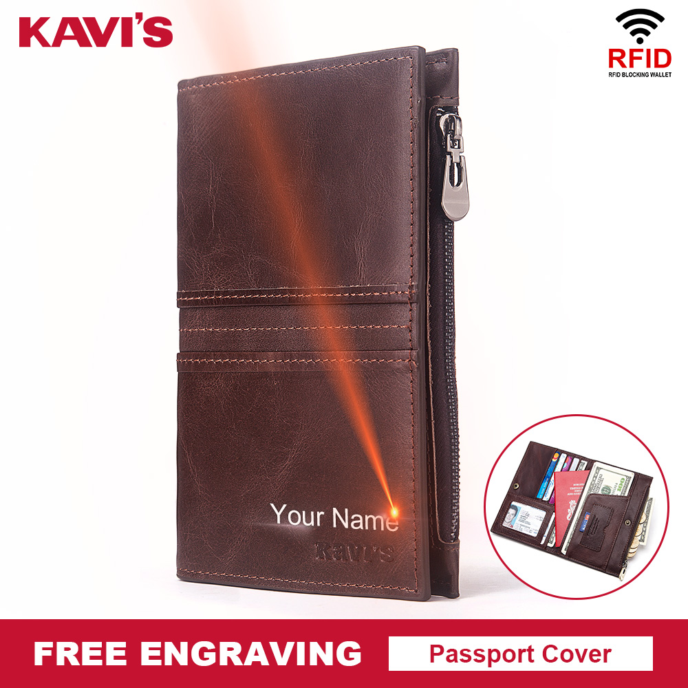 KAVIS Rfid Genuine Leather Passport Cover ID Card Holder Travel Credit Wallet  Men Purse Driving License Bag Male Portomonee
