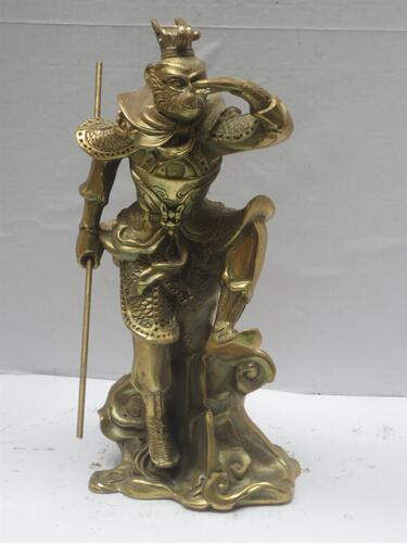 High 9 Inch Metal crafts Chinese brass Carved Journey to the West Monkey King Statue, Home Decoration Metal Monkey ScuptureHigh 9 Inch Metal crafts Chinese brass Carved Journey to the West Monkey King Statue, Home Decoration Metal Monkey Scupture