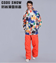 2017 new arrival mens ski suit skiing snowboarding suit for men male ink painting ski jacket