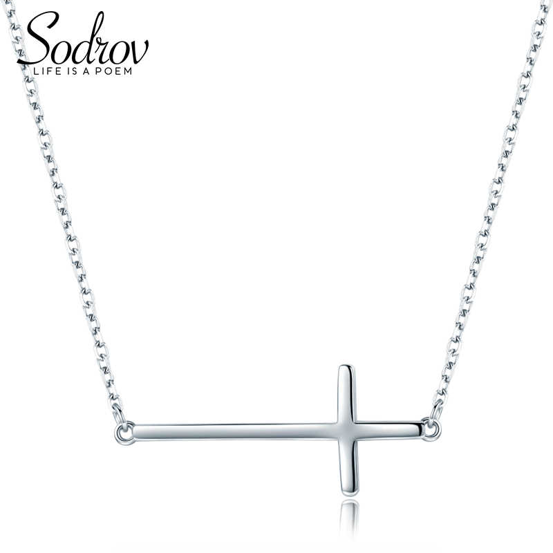 SODROV New Arrival Fashion 925 Sterling Silver Cross Tales Chain Link Pendant Necklaces for Women HN027 Personalized