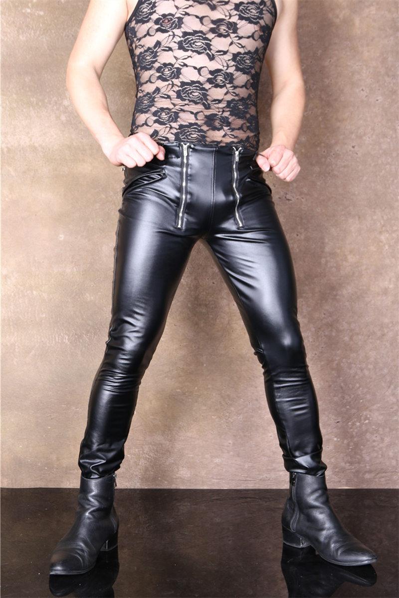 2019 Männer Sexy Hosen Faux Leder Dünne Enge Hohe Elastische Charme Kühle Stilvolle Einzigartige Zip Vorne Hosen Neue Eine GroßE Auswahl An Modellen