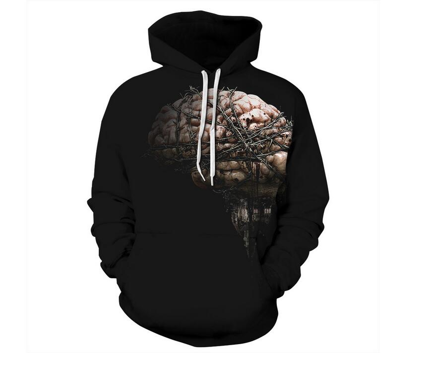 S-XXXL New Autumn Halloween Brain 3D Printed Hoodies Men/Women Sweatshirt With Cap Pullover Streetwear Jacket Thin Hooded Tops