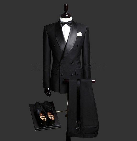Por Encargo del Ajustado Negro 3 Unidades Mens Blazer Doble de Pecho Traje de Boda de Los Hombres Trajes de Novio Esmoquin Para Hombres (Jacket + Pants + Tie)