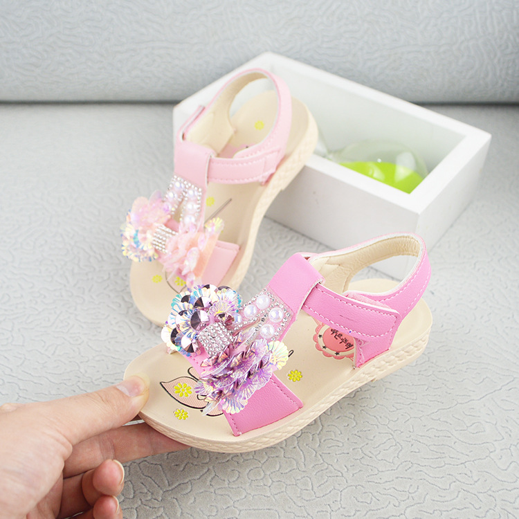 New Simple Sandals For Girls Summer Sweet Beading Flower Fashion Sequin Girls Princess Shoes Big Girls 12 13 Daily Casual Sandal