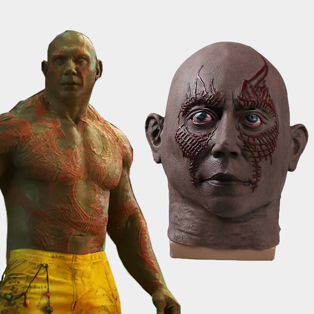 Cos 2017 Movie Guardians of the Galaxy 2 Mask Cosplay Drax the Destroyer Mask Latex Adult Full Head Breathable Halloween Party