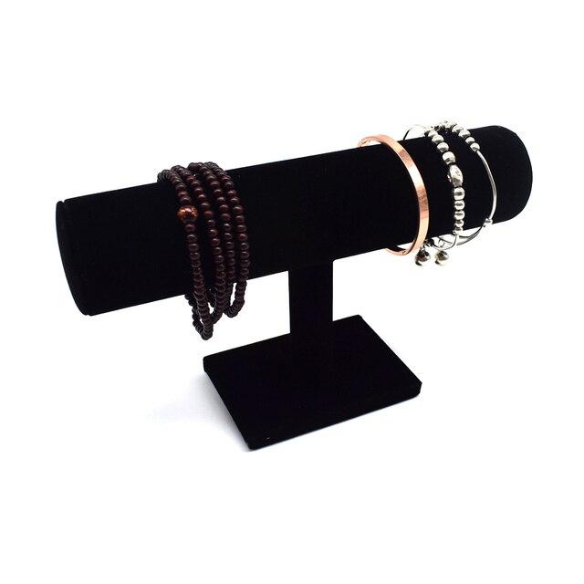 1PCS Black Velvet Jewelry Display Stand Bracelet Chain Watch T Bar