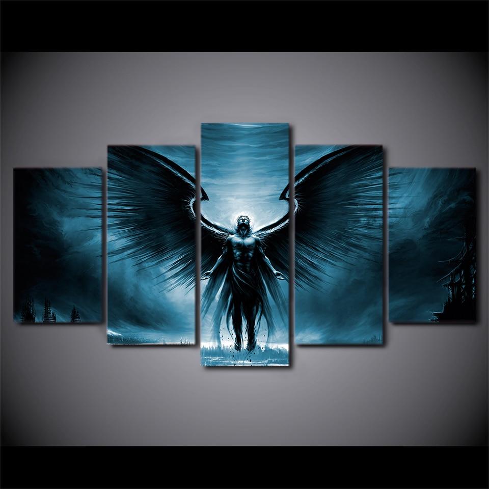 5 Teile/satz Gerahmte HD Gedruckt Anime Dark Angel Mit Flügeln ...