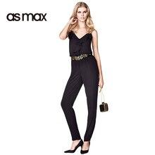 asmax Chic Womens Jumpsuit Black Ruffles V-neck Camis High Waist Zipper Sleeveless Romper Casual Red Chiffon Wide Leg Jumpsuit