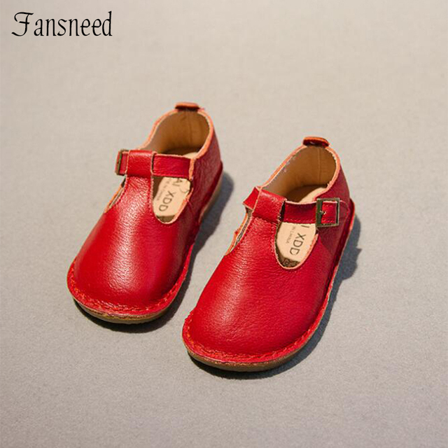 7ca973df05b42 2018 spring and autumn new children s shoes girls retro T-shaped soft  bottom genuine leather princess shoes
