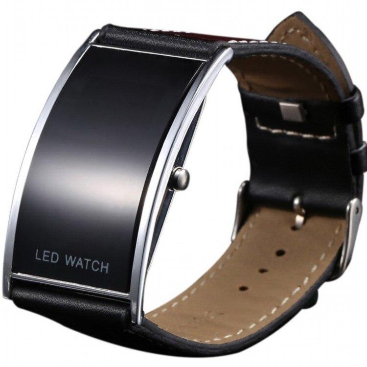 Горячий Зеркале Лицо Силиконовой Лентой Цифровые Часы Красный СВЕТОДИОД Часы Металлический каркас Наручные Часы Спортивные Часы Часы 4 цвет