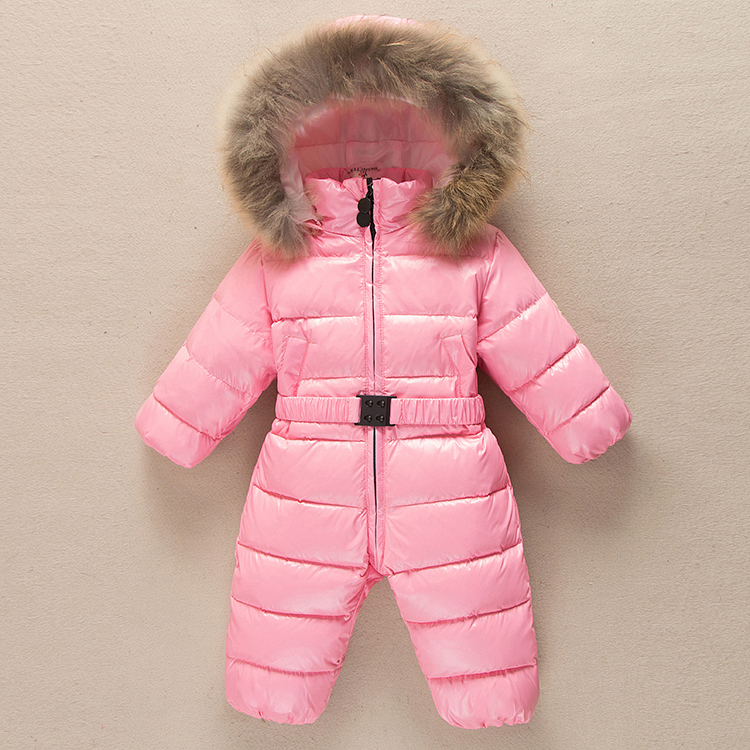 Down clothes baby girls jumpsuit russia winter infants warm clothes overalls snowsuit boys clothes raccoon fur collar hooded цена