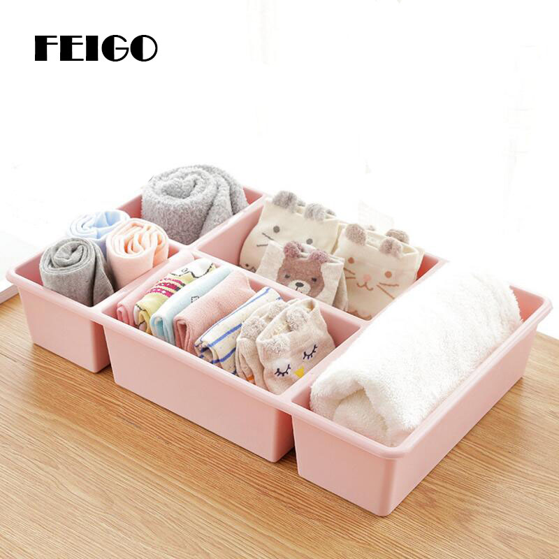 FEIGO 5 Grids Storage Boxs Family/Office Desktop Debris Box Skin Care Makeup Remote Control Bathroom Jewelry Storage Boxs F900