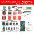 Original TL866A Universal minipro programmer +24 adapters + IC clip CLAMP TL866 AVR PIC Bios  Programmer Russian English manual