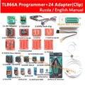 Original TL866A minipro Universal programador + 24 adaptadores + IC clipe BRAÇADEIRA TL866 AVR PIC Bios manual do Programador Russo Inglês