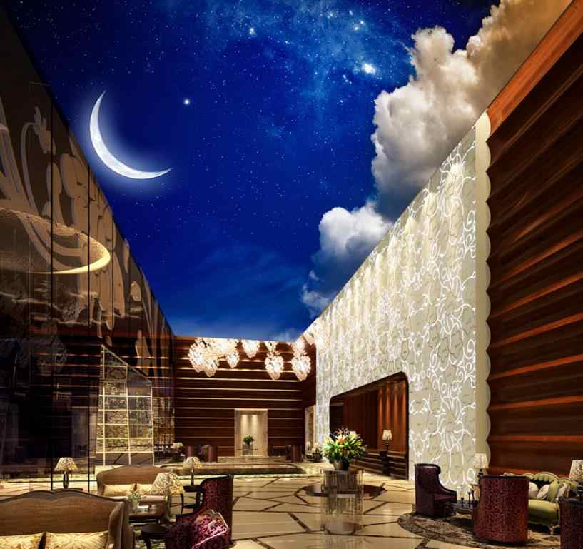decoracion ceiling customize 3d wallpaper ceiling Moon white clouds Living room bedroom ceiling 3 d wallpaper for walls