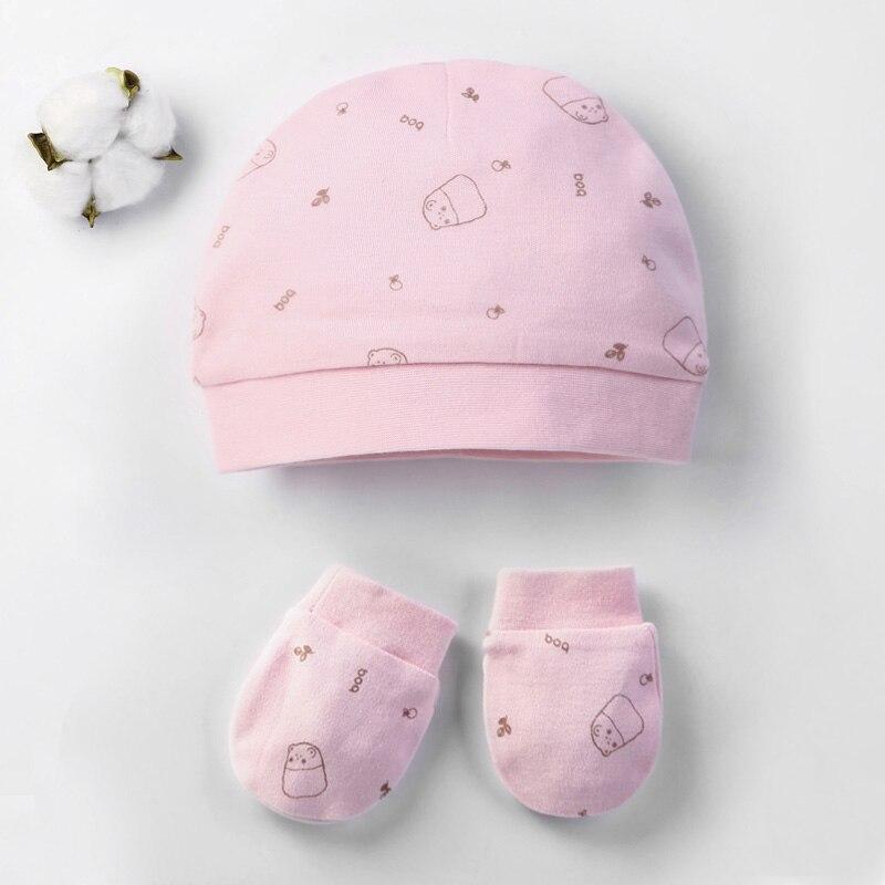 Осенне-зимние детские шапки и варежки для девочек и мальчиков, кепки, носки, удобные детские шапки и перчатки, хлопковые аксессуары для новорожденных детей 0-3 лет - Цвет: Розово-красный