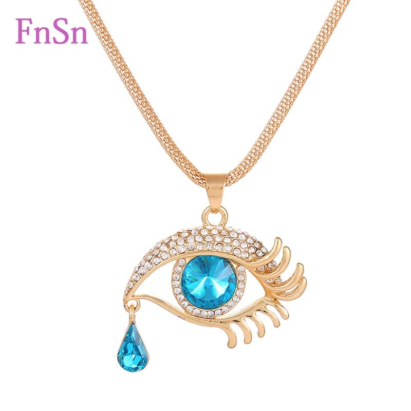 Oeil pendentif colliers femmes long collier cristal or couleur alliage de zinc charmes colliers bijoux vente chaude2017Nouveau cadeau de mode