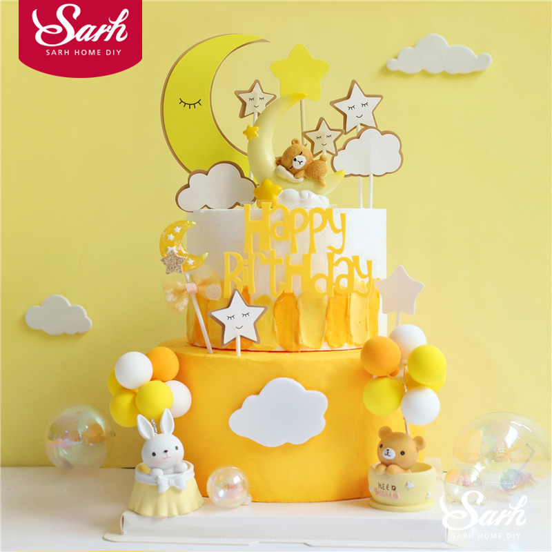 Pleasant Pink Yellow Moon Bear Rabbit Decoration Happy Birthday Cake Topper Personalised Birthday Cards Paralily Jamesorg