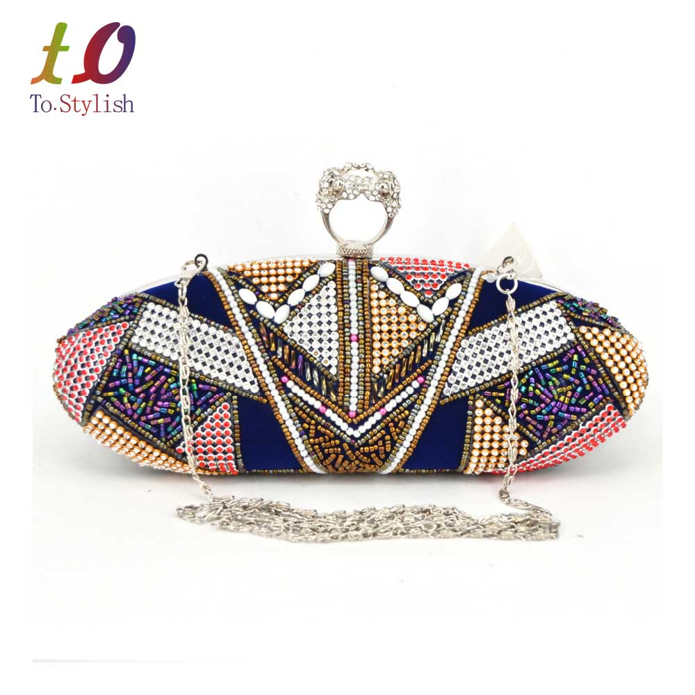 ФОТО New Fashion Crown Women Beaded Evening Clutches Bags Satin Blue Personality Style Party ring Female Designer Ladies HandBag x101