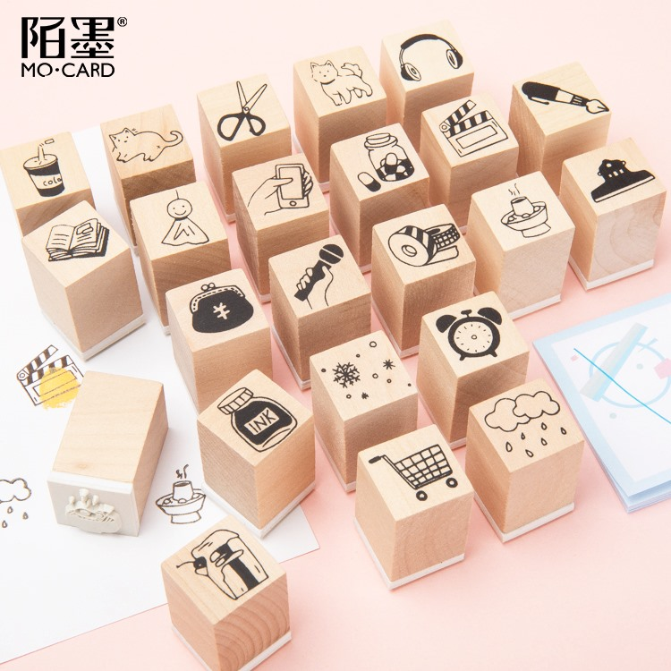 Cute Dog Cat Film Decoration Stamp Wooden Rubber Stamps For Scrapbooking Stationery DIY Craft Standard Stamp
