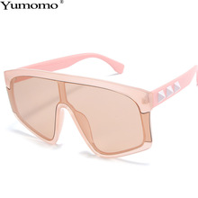 Yumomo Square Sunglasses Women Trendy Irregular Conjoined Gradient Pink Tinted Color Lens UV400 Oculus Pastic Female Eyewear