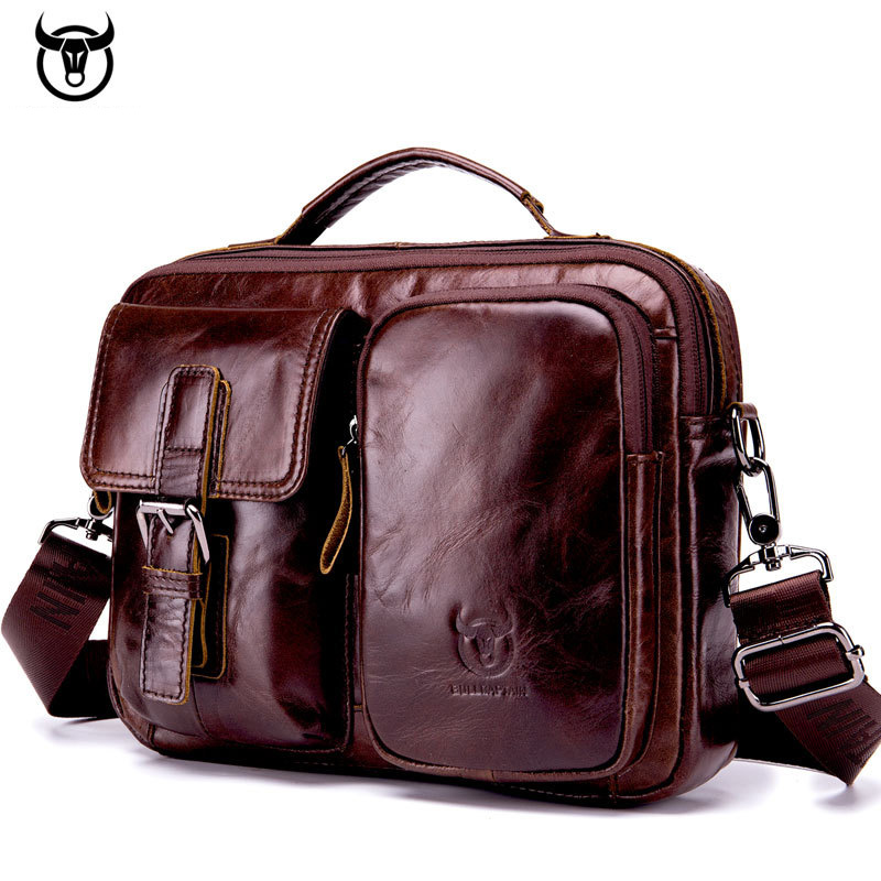 Men Genuine Leather Bag Real Leather Briefcase Computer Bags Mens With Back Srtap Fashion Vintage Designer Handbags New Arrival