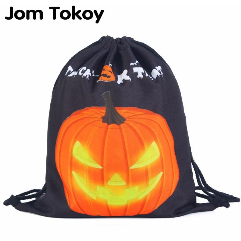 Jack O'Lanternh Women Backpack 3D printing travel softback women mochila School Student drawstring bag mens backpacks